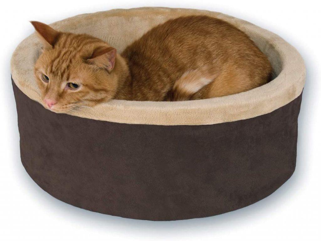 k&h heated round cat bed