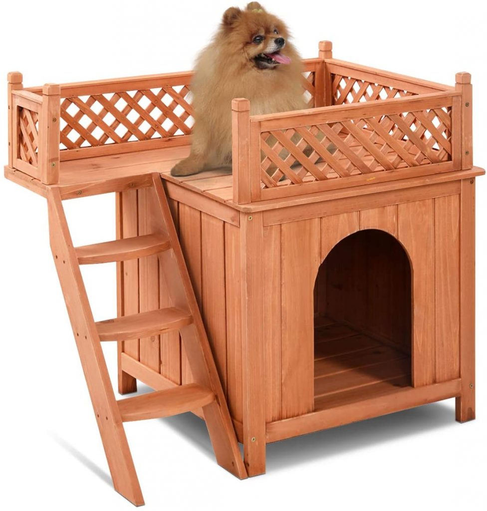 giantex wooden dog house with 2 floors.