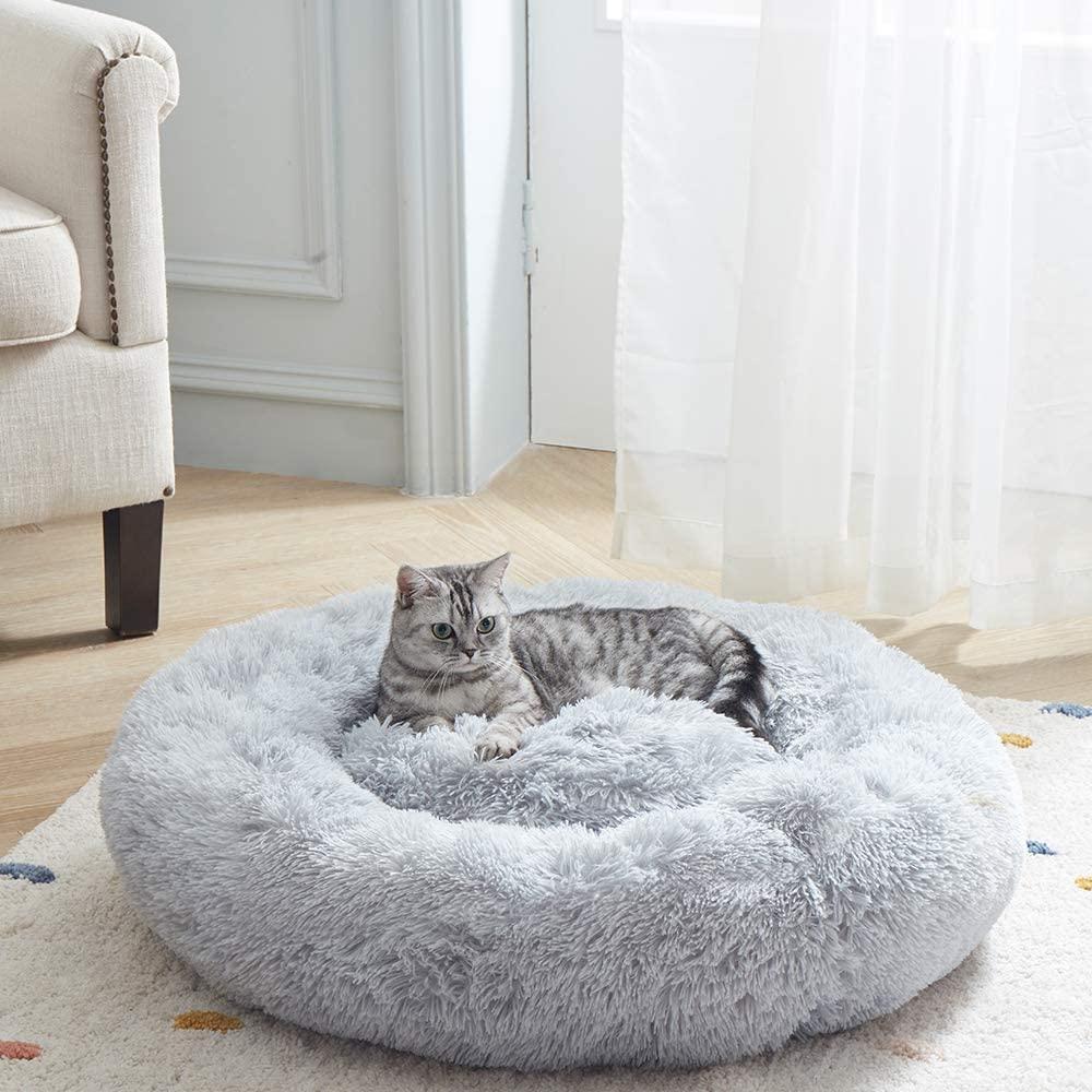 plush round cat bed self warming